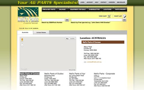 Screenshot of Locations Page neils.com.au - Neil's Parts, Your AG PARTS Specialists - captured Oct. 7, 2014