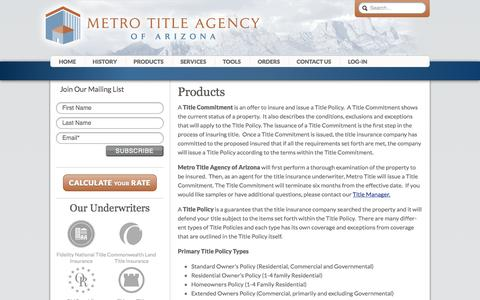Screenshot of Products Page metrotitleaz.com - Products - Metro Title Agency of Arizona - captured Oct. 27, 2014