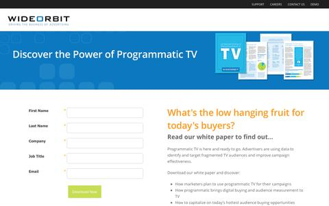 Screenshot of Landing Page wideorbit.com - WideOrbit  |  Programmatic TV White Paper - captured Aug. 20, 2016