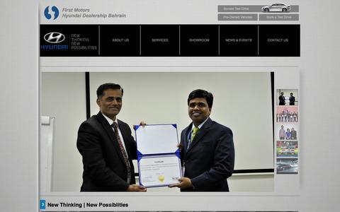 Screenshot of Home Page 1stmotors.com - First Motors | Hyundai Dealership Bahrain - captured Oct. 6, 2014