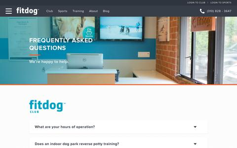 Screenshot of FAQ Page fitdog.com - FAQ | Fitdog | About Dog Daycare, Boarding, Classes & Training - captured Oct. 10, 2018