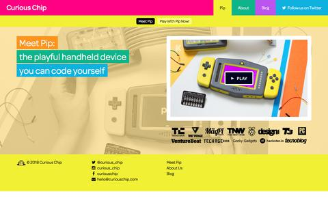 Screenshot of Home Page curiouschip.com - Curious Chip | Creators of Pip - the playful handheld device you code yourself - captured Jan. 26, 2018