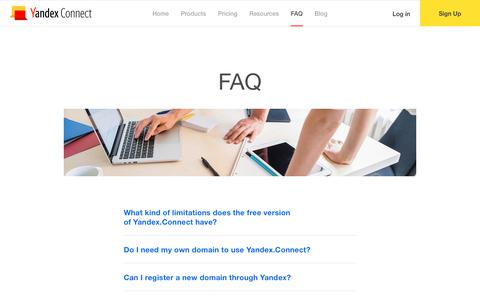 Screenshot of FAQ Page yandex.com - Free Email, Cloud Storage and more on Your Domain - Yandex.Connect - captured Aug. 11, 2017