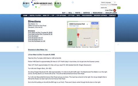 Screenshot of Maps & Directions Page bob-weber.com - Computer to Plate Contact Information | Bob Weber Inc. - captured Feb. 7, 2016