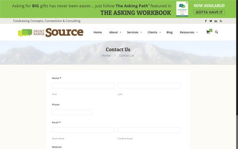 Screenshot of Contact Page frontrangesource.com - Contact Us - captured Aug. 30, 2018