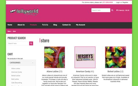 Screenshot of Products Page lollyworld.com.au - Products Lollies | Lollyworld - captured May 22, 2017