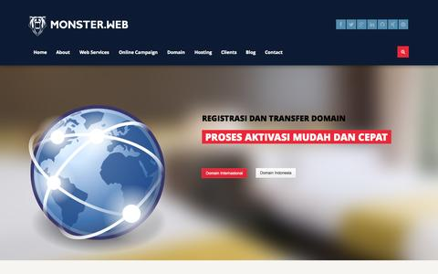 Screenshot of Home Page monster.web.id - Monster Web Indonesia | One Stop Web Solutions - captured Oct. 3, 2014