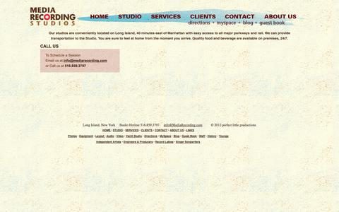 Screenshot of Contact Page Maps & Directions Page mediarecording.com - Media Recording Studios-_Contact-Long Island based Media Recording is proud to provide the finest in Audio and Video Recording, Editing, Mixing and Production. - captured Oct. 27, 2014