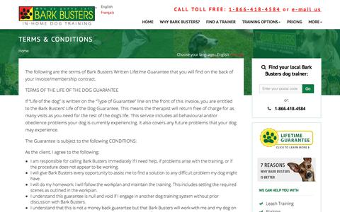 Screenshot of Terms Page barkbusters.ca - Dog Training Lifetime Guarantee Terms & Conditions - captured Oct. 10, 2017