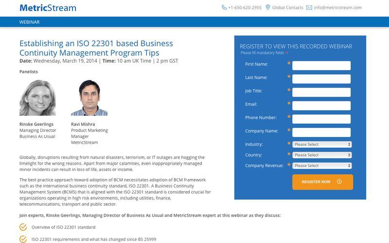 WEBINAR: Establishing an ISO 22301 based Business Continuity Management Program Tips