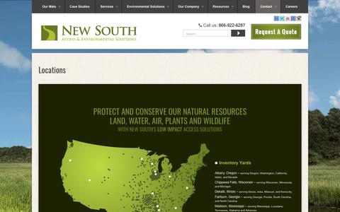 Screenshot of Locations Page newsouthmat.com - Inventory Yards & Job Sites Throughout The United States    New South - captured Oct. 18, 2018