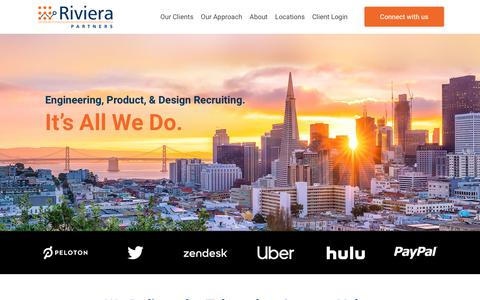 Screenshot of Home Page rivierapartners.com - Riviera Partners – Engineering, Product, & Design Recruiting. It's All We Do. - captured Jan. 17, 2020