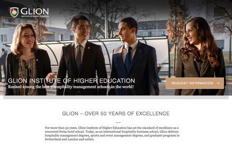 Screenshot of Landing Page glion.edu - Glion, international hospitality management school - captured Nov. 24, 2016