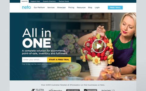 Screenshot of Home Page neto.com.au - Ecommerce platform, online stores & shopping cart solutions | Neto - captured Dec. 12, 2017