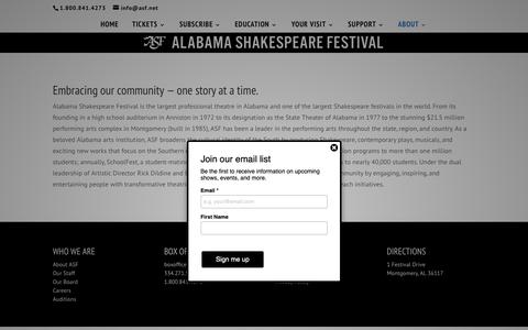 Screenshot of About Page asf.net - About | Alabama Shakespeare Festival - captured Oct. 24, 2018