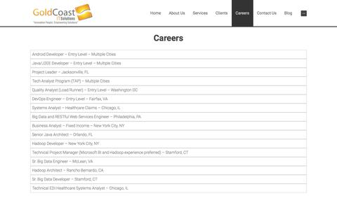 Screenshot of Jobs Page gcitsolutions.com - Careers | Gold Coast IT Solutions - captured April 27, 2018