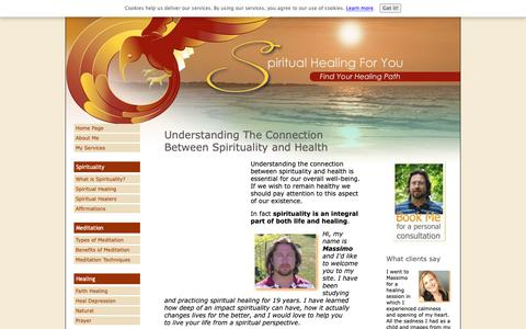 Screenshot of Home Page spiritual-healing-for-you.com - Connecting Spirituality And Health - captured Oct. 19, 2018
