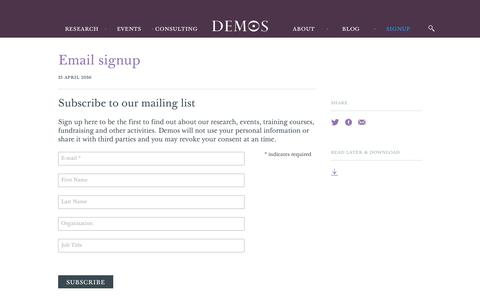 Screenshot of Signup Page demos.co.uk - Email signup - Demos - captured Aug. 6, 2018