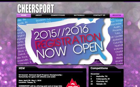 Screenshot of Home Page cheersport.net - CHEERSPORT the Leader in Cheerleading and Dance Championships. - captured July 17, 2015
