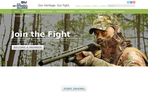Screenshot of Home Page ussportsmen.org - Home | U.S. Sportsmen's Alliance - captured July 12, 2014