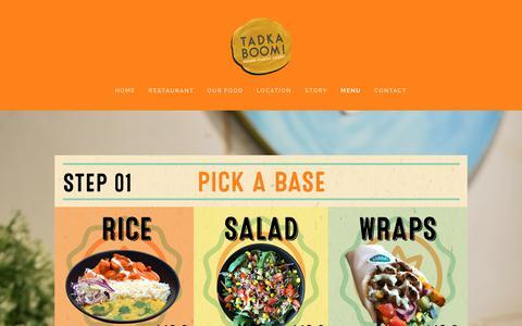Screenshot of Menu Page tadkaboom.com.au - Menu — Tadka Boom! Indian Fusion Kitchen - captured Oct. 20, 2018