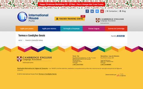 Screenshot of Terms Page ihporto.org - Termos e Condições Gerais -International House Porto - captured Nov. 26, 2016