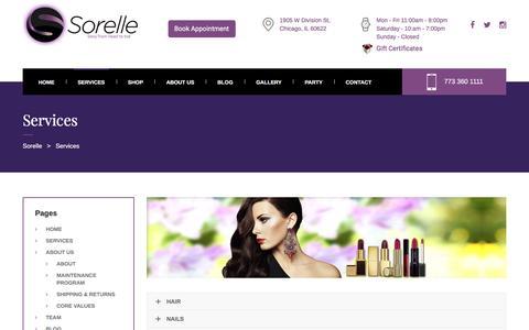 Screenshot of Services Page sorellechicago.com - Services | Sorelle Chicago - captured Aug. 15, 2016