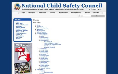 Screenshot of Site Map Page nationalchildsafetycouncil.org - Sitemap - captured Oct. 27, 2014