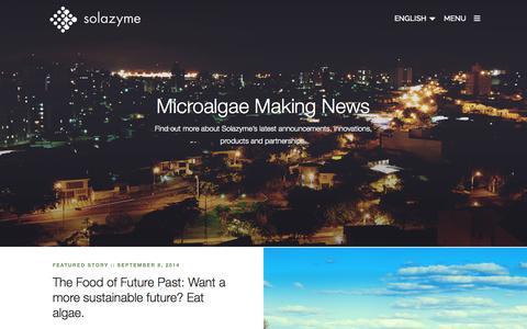Screenshot of Press Page solazyme.com - Media | Solazyme - captured Sept. 17, 2014