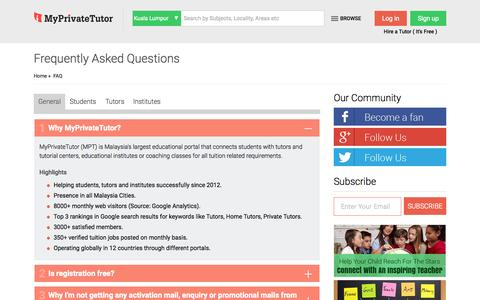 Screenshot of FAQ Page myprivatetutor.my - Frequently Asked Questions and Answers for Students, Tutors, Institutes - MyPrivateTutor: Malaysia - captured Sept. 27, 2015