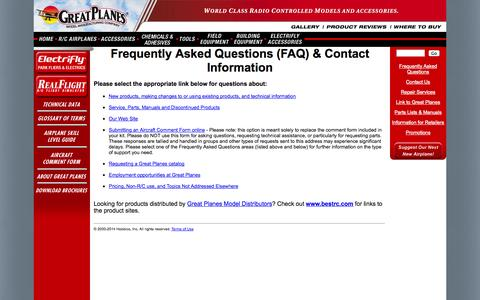 Screenshot of FAQ Page greatplanes.com - Great Planes Model Mfg. - Frequently Asked Questions (FAQ) & Contact Information - captured Nov. 3, 2014