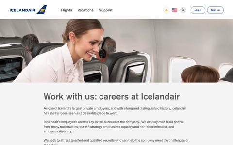 Screenshot of Jobs Page icelandair.com - Work with us: jobs with Icelandair   Icelandair - captured Sept. 12, 2018