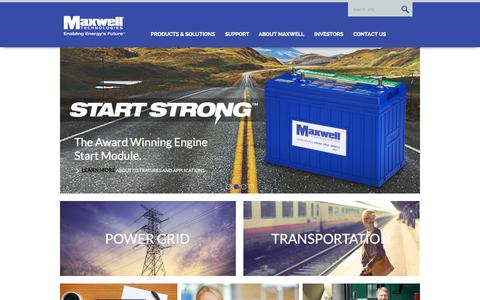 Screenshot of Home Page maxwell.com - Maxwell Technologies Ultracapacitors, Supercapacitors, Microelectronics and High Voltage - captured Sept. 26, 2015