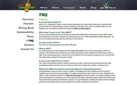 Screenshot of FAQ Page juicegeneration.com - FAQ - captured Sept. 19, 2014