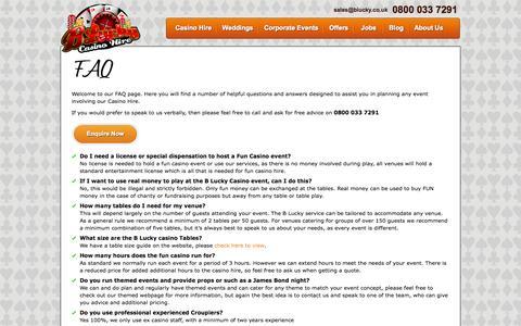 Screenshot of FAQ Page blucky.co.uk - FAQs  - B Lucky Fun Casino Hire - captured Oct. 1, 2014