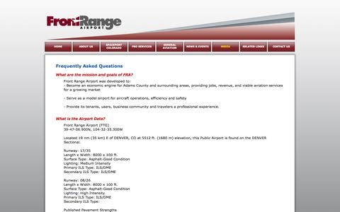 Screenshot of FAQ Page ftg-airport.com - Front Range Airport - Frequently Asked Questions - captured Oct. 6, 2014