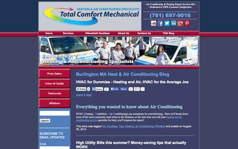 Screenshot of Blog totalcomfortmech.com - Burlington MA Heat & Air Conditioning Blog - captured Oct. 7, 2014
