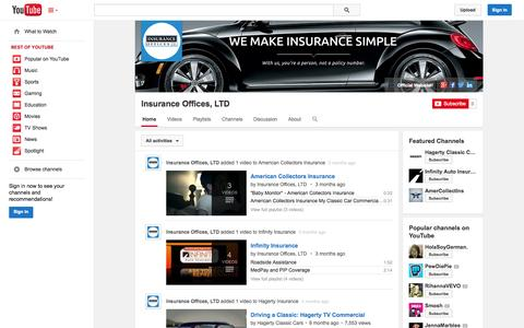 Screenshot of YouTube Page youtube.com - Insurance Offices, LTD  - YouTube - captured Oct. 23, 2014