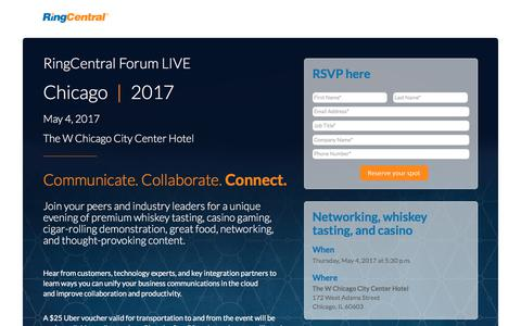 Screenshot of Landing Page ringcentral.com - RingCentral Events - captured Oct. 28, 2017