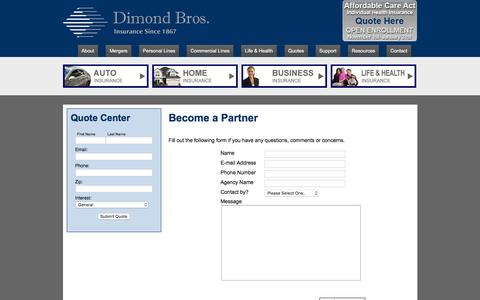 Screenshot of Signup Page dimondbros.com - Become a Partner in Illinois - Dimond Bros. Insurance, LLC - captured Feb. 9, 2016