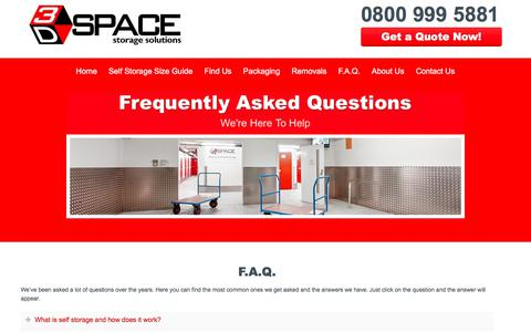 Screenshot of FAQ Page 3dspacestorage.co.uk - F.A.Q's About Our London Self Storage Facility | 3D Space Storage - captured Nov. 6, 2017