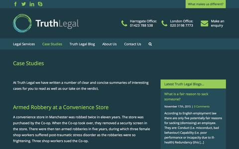 Screenshot of Case Studies Page truthlegal.com - Case Studies - Truth Legal - captured Feb. 27, 2016