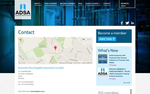 Screenshot of Contact Page adsa.org.uk - Contact Us - captured Oct. 4, 2014