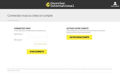 Screenshot of Login Page courrierinternational.com - Login du client - captured July 22, 2018