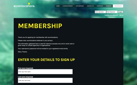 Screenshot of Signup Page ecomlocations.com - Ecomlocations :: Membership - captured Oct. 28, 2014