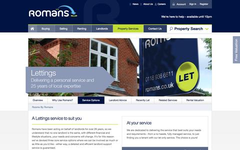 Screenshot of Services Page romans.co.uk - Property Management Berkshire - Rent Collection Services Hampshire - captured Sept. 17, 2014