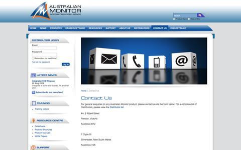 Screenshot of Contact Page australianmonitor.com.au - Pro Audio Visual Solutions - Contact Australian Monitor - captured Nov. 21, 2016
