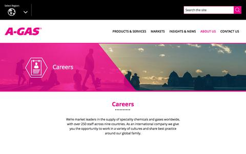 Screenshot of Jobs Page agas.com - Careers | A-Gas Global - captured Sept. 17, 2017