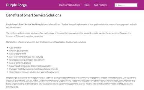 Screenshot of Services Page purpleforge.com - Benefits of Smart Service Solutions – Purple Forge - captured July 19, 2016