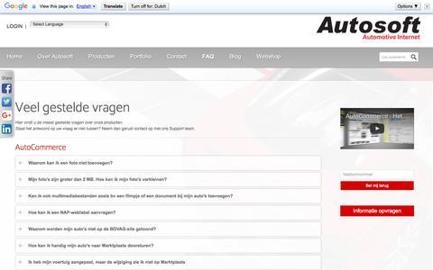 Screenshot of FAQ Page autosoft.eu - FAQ - Veelgestelde vragen | Autosoft - captured July 27, 2016